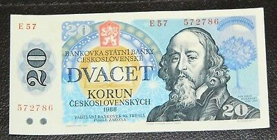 Circulated Banknotes 20 Korun Czechoslovakia Paper Money 1988 / Good (6)