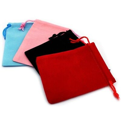 10x Black Red Pink Velvet Jewellery Drawstring Wedding Gift Bag Favour Pouches
