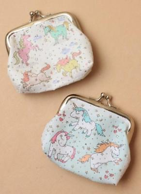 Unicorn Printed Fabric Coin Purse With Ball Snap Clasp In 2 Colours Stocking Fil