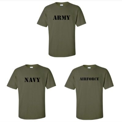 Military ARMY, NAVY OR AIRFORCE Men's Plain 100% Cotton T-shirt Tee sizes S - XL