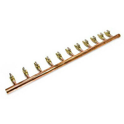 "Retails Copper Manifold 1"" with  1/2"" PEX Crimp Valves 11 Outlets"