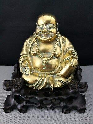 19th/20th Antique Old Chinese bronze Buddha with wood stand