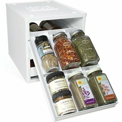 YouCopia Spice Stack Original Drawer Spice Organiser, Original 18-Bottle, White