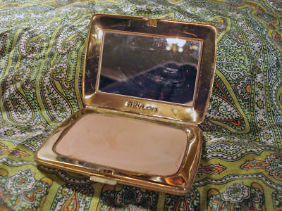 Revlon Vintage Compact Gold Metal With Mirror Face Powder Compact Hollywood Glam
