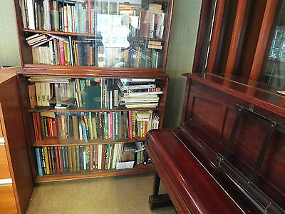 Bookcase - vintage, very large with 3 sliding glass doors