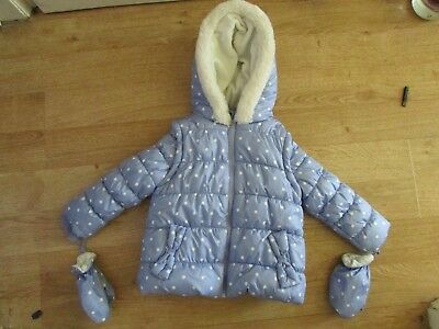 girls blue spotty fleece lined coat/bodywarmer with mittens from george age 2-3y