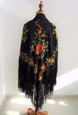 Vintage 1920's Chinese Black Brightly Embroidered Piano Fringed Shawl