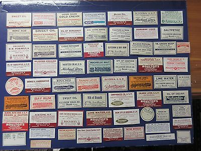 64+Old Pharmacy-Apothecary-Medicine Bottle Labels=Ephemera=Nice Selection