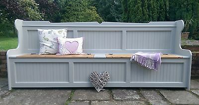 Hand Crafted Solid Pine 8Ft Monks Bench / Settle Storage Bench F&b Colours