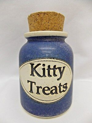 Kitty Cat Treat Jar Large Cork Plug Blue & White Ceramic Made in 1991 Never Used