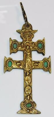 Large Post Medieval Gilt Bronze & Enamel Caravaca Cross Crucifix Mater Dolorosa