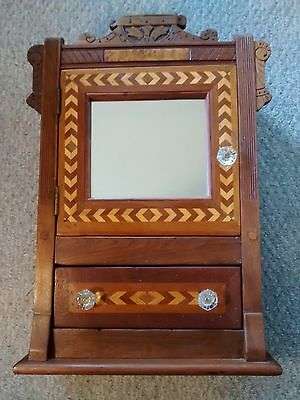 Vintage Antique TRAMP ART CABINET In Cherry w/ Maple inlay + Glass Pulls