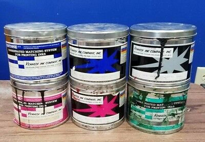 Lot of 6 Different Partial 5 lb.Cans Oil Base Offset Printing Ink