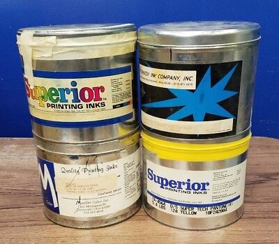 Lot of 4 Different Partial 5 lb.Cans Oil Base Offset Printing Ink