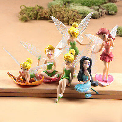 6pcs Cute Tinker Bell Princess Action Figures Cake Toppers Doll Kids Toy Gift UK