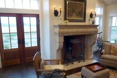 Hand Carved Mantel Fireplace, Travertine Mantle, Marble and Limestone, Rustic