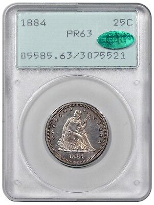 1884 Seated Liberty Quarter, PCGS (OGH - Rattler) PR63 CAC