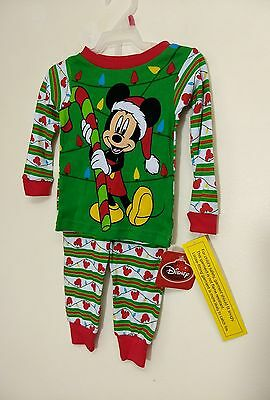 NEW, DISNEY STORE MICKEY MOUSE CHRISTMAS PAJAMAS SET, SIZE 18 Months