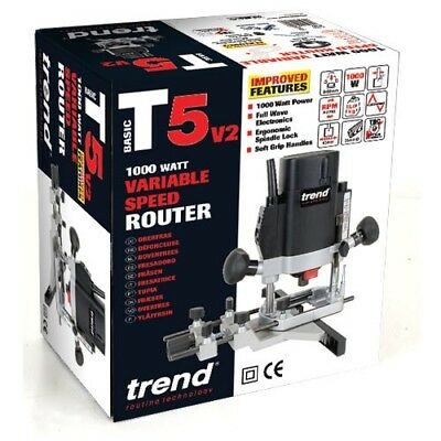 "Trend T5Elb 1000W 1/4"" Variable Speed Router 110Volt"