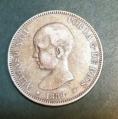 SPAIN 1889 5 PESETAS  COIN nice details large silver