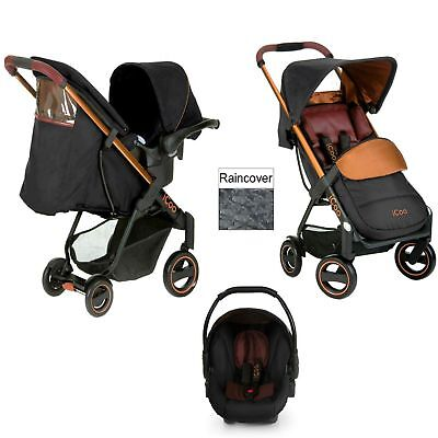 Hauck Icoo Acrobat Shop N Drive Travel System pushchair+carseat Copper BLACK