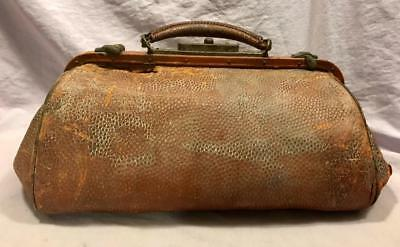 Vintage Antique Brown Leather Tin Metal Dr Doctor's Bag Physician