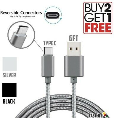 USB TYPE C Cable 3ft 6ft Long Nylon Braided Or PVC Cord for GALAXY S8 PLUS LG G6
