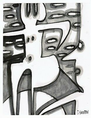 EXPOSED abstract/folk/outsider? ink drawing/painting J.Swinton Canadian NR