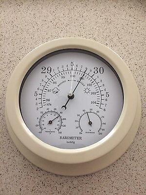 3 In1 220MM DIAMETER QUALITY FINISH  CREAM BAROMETER-HYGROMETER-THERMOMETER