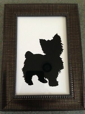 Yorkie Reverse Painting on Glass -- Artist Painted Item