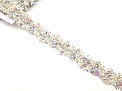 11'' Pearl Bridal Belt Rhinestone Wedding Sash Belt ,silver Ab Wedding DressTrim