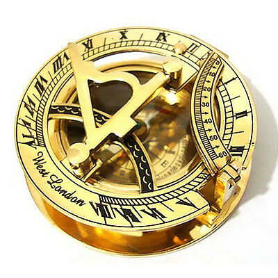 Real Genuine Brass Sundial Working Compass Made in India, Displays West London