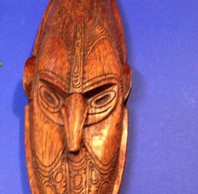 PNG Pacific Tribal Wood Carving Artifact - 46cm  Mask  - Intricate, Wall Mount
