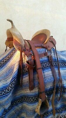 1826 style used apple horn mountain man saddle. Made in May 1991. Ready to ride.