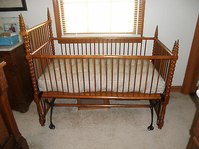 Victorian Solid Cherry & Cast Iron Rocking Cradle Crib, Wheels & Mattress MINT