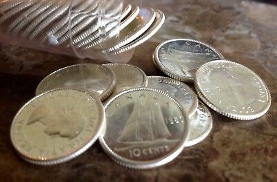 Half roll (25) 1960 Canadian Silver Dimes, Ten Cent Coins, Uncirculated