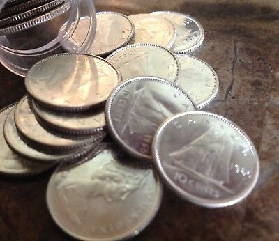 Half roll (25) 1965 80% Silver Canadian Silver Dimes, Uncirculated