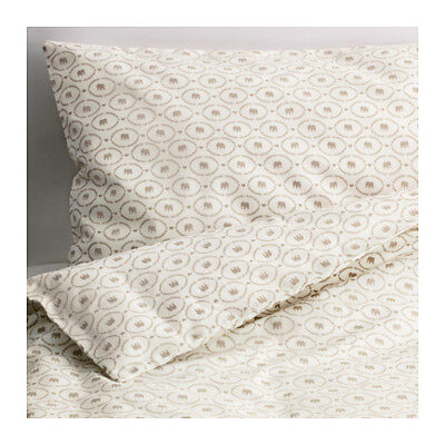 HJÄRTEVÄN Crib duvet cover/pillowcase, white, beige, *NEW* *FREE Econo Shipping*