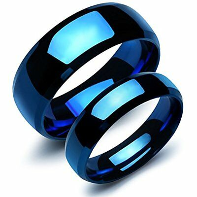 Pcs Stainless Steel Our Love Pure As The Sea Noble Ocean Blue Couple Rings Band