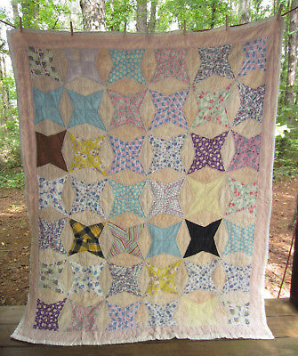 "Antique vintage Floursack  Feedsack  patchwork quilt  tiny quilting 70""x84"""