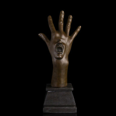 Art Deco handmade Sculpture Hand mouth Bronze Copper Statue