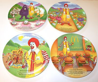 McDonalds Plates 1989 Set of 4 Plastic Food Fun Places Fry Guys Grimace & More