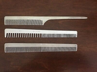 Vintage Aluminum Combs Lot Of 3, Deltar, Diane, Swedish Crown