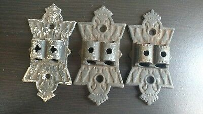 Lot of Antique Vintage Brackets, Hinges, Latches, Lamp Parts Cast Iron, Metal