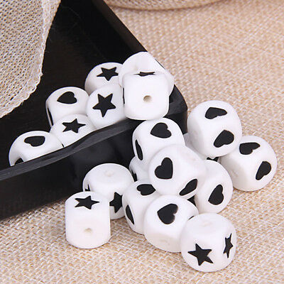 Star Heart Cube Silicone Beads Teething Beads Baby DIY Teether jewellery Making