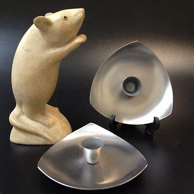 Retro Scandi Style - 2 x Tapered Candle Holders Dishes -18/8 Stainless Steel