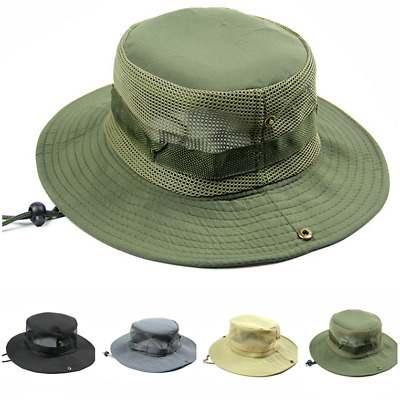 c356db82eb8ad Cool Mesh Brim Solid Boonie Bucket Hat Military Hunting Fishing Hiking  Outdoor