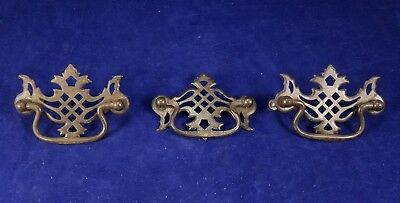 Set of 3 Antique 1920's ORNATE CHIPPENDALE drawer dresser pull handle