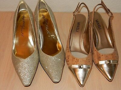 Easy Street Chiffon Gold Pump Vanely Tiffany Slingback Sandal Size 7M New LOT