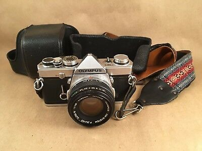 Vintage Olympus OM-1 35mm Camera With 50mm 1:1.8 Lens And Case